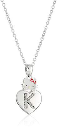 "Hello Kitty Girls' Crystal and Enamel ""N"" Initial Pendant Necklace"