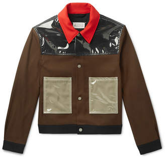 Maison Margiela Pvc-panelled Gabardine Trucker Jacket - Brown
