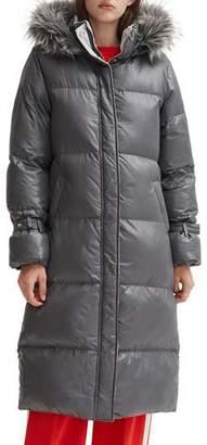 Noize Long Faux Fur-Trim Hooded Puffer Coat