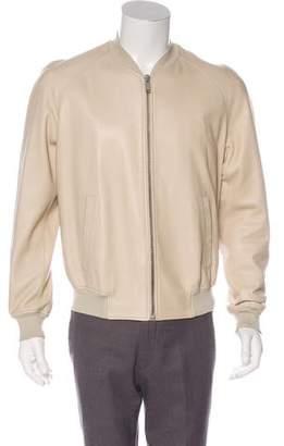 Alexander McQueen Leather Skull Bomber Jacket