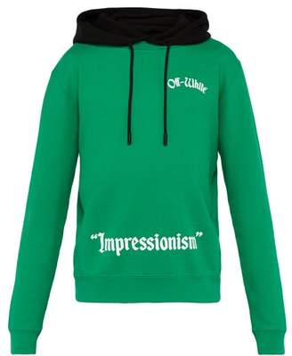 Off-White Off White Impressionism Cotton Hooded Sweatshirt - Mens - Green