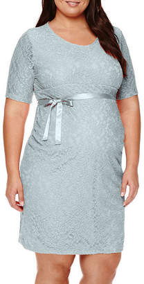 PLANET MOTHERHOOD Planet Motherhood Lace Dress with Bow Belt - Plus Maternity