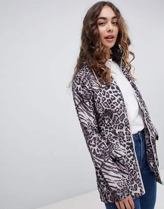 Brave Soul safari lightweight jacket in animal print