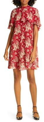 RED Valentino Cape Detail Floral Silk Minidress
