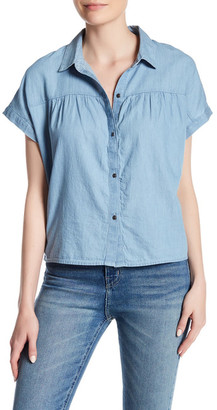 Melrose and Market Short Sleeve Chambray Button Down Blouse $27.97 thestylecure.com