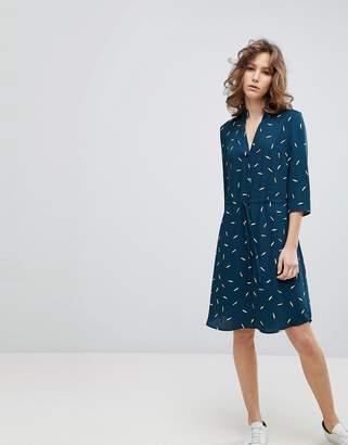 Selected Printed Tie Waist Dress