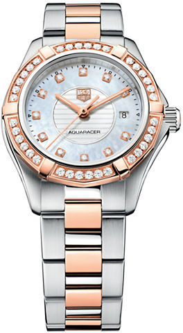 Tag Heuer Ladies' Two-Tone Aquaracer Watch with Diamond-Encrusted Bezel