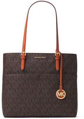 MICHAEL Michael Kors Bedford Large Logo Pocket Tote Bag, Brown/Orange $228 thestylecure.com
