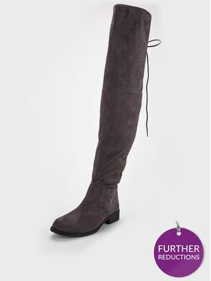 6a78693342c Very Lacey Lace Back Flat Ovr The Knee Boot - Grey