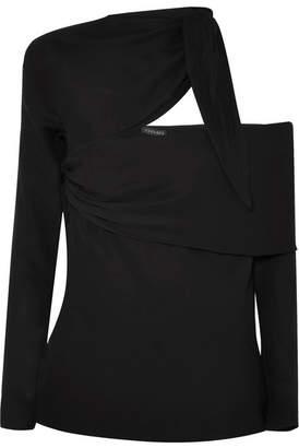 fd43e978f04326 Versace Asymmetric Cutout Crepe De Chine Top - Black