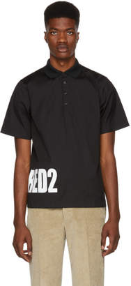 DSQUARED2 Black Poplin Logo Polo