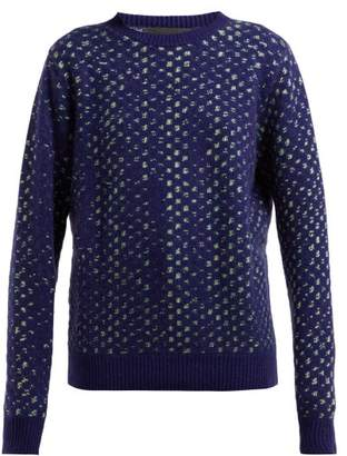 The Elder Statesman Leo Spot Jacquard Cashmere Sweater - Womens - Blue Multi