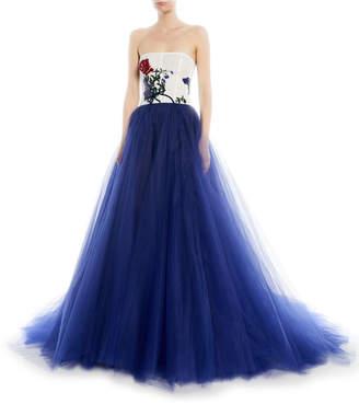 Monique Lhuillier Sequin-Floral Bustier Tulle Skirt Evening Ball Gown