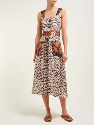 La Prestic Ouiston Bain De Soleil Mixed Print Silk Twill Dress - Womens - Animal