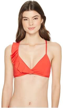 Kenneth Cole Ready To Ruffle One Shoulder Ruffle OTS Bikini Top Women's Swimwear