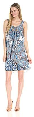 Robbie Bee Women's Paisley Printed Chiffon Shift Dress with Ruffle Front