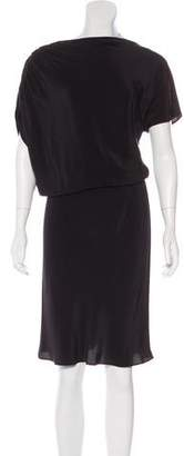 Josie Natori Asymmetrical Silk Dress