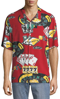 Ovadia & Sons Men's Casino Graphic Short-Sleeve Beach Shirt