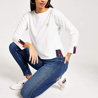 River Island White long sleeve contrast tape top