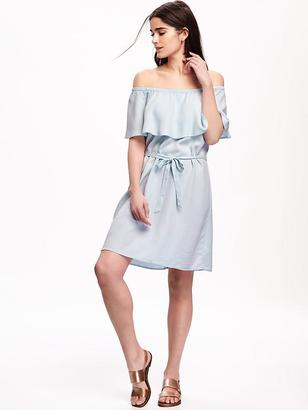 Off-the-Shoulder Tie-Belt Dress for Women $36.94 thestylecure.com