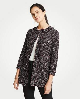 Ann Taylor Petite Tweed Ruffle Collar Jacket