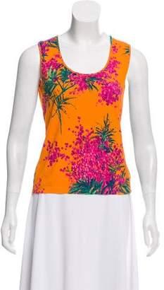 Blumarine Floral Sleeveless Knit Top