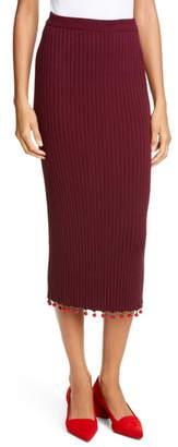 STAUD Costa Knit Midi Pencil Skirt