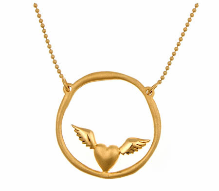 Agrigento Designs Flying Heart Circle Pendant Necklace