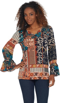 Susan Graver Printed Liquid Knit Tunic with Ruffle Sleeves