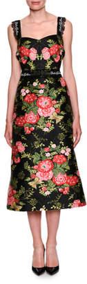 Dolce & Gabbana Sweetheart-Neck Sleeveless Rose-Jacquard Midi Cocktail Dress