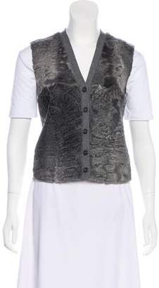 Prada Fur-Trimmed Button-Up Vest
