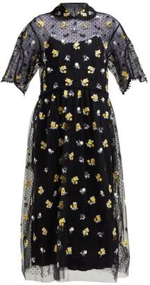 Biyan - Anita Floral Embroidered Tulle Dress - Womens - Black Yellow