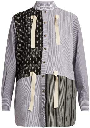 J.W.Anderson Contrast-print striped cotton-gauze shirt