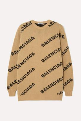 Balenciaga Oversized Intarsia Wool-blend Sweater - Beige