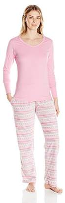 Bottoms Out Women's Printed Micro Fleece Pajama Set