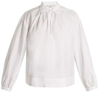 Stella McCartney Keyhole Slit Ruched Cotton Poplin Shirt - Womens - White