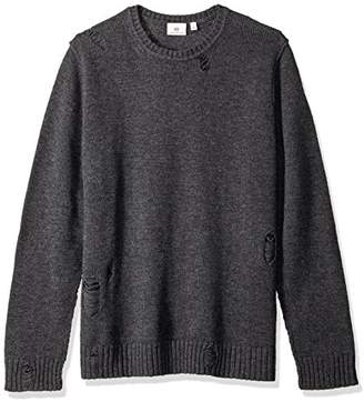 AG Adriano Goldschmied Men's Thoman Long Sleeve Destructed Crew Sweater