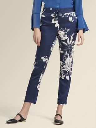 DKNY Floral Satin Straight Leg Pant