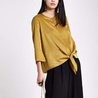River Island Yellow satin tie front top