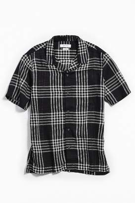 Urban Outfitters Open Weave Plaid Short Sleeve Button-Down Shirt
