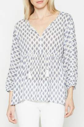 Soft Joie White Patterned Tassle Top