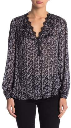 Lucky Brand Printed Embroidered Blouse