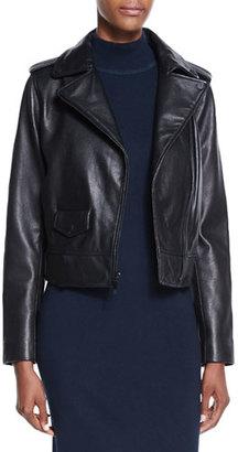 Neiman Marcus Lambskin Leather Moto Jacket $445 thestylecure.com