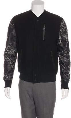 Marcelo Burlon County of Milan Leather-Accented Wool Varsity Jacket