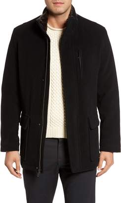 Cole Haan Faux Fur Collar Wool Blend Parka