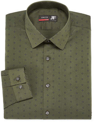 Jf J.Ferrar Easy Care Stretch Big And Tall Long Sleeve Broadcloth Geometric Dress Shirt