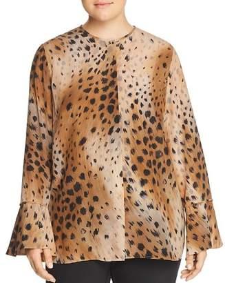 Lafayette 148 New York Plus Izzie Silk Cheetah-Print Blouse