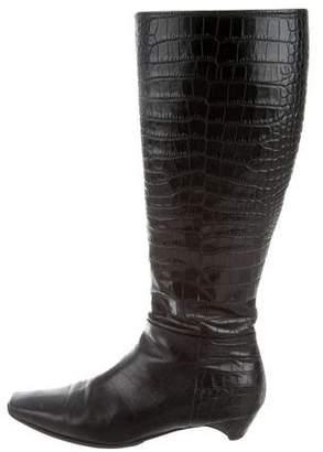 Christian Dior Crocodile Knee-High Boots
