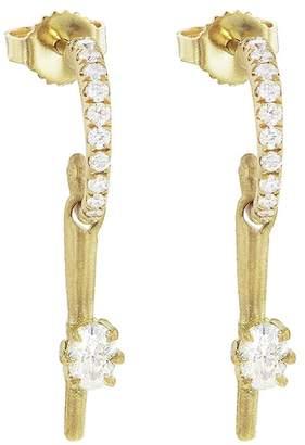Jade Trau Mini Rae Diamond Hoop Earrings - Yellow Gold