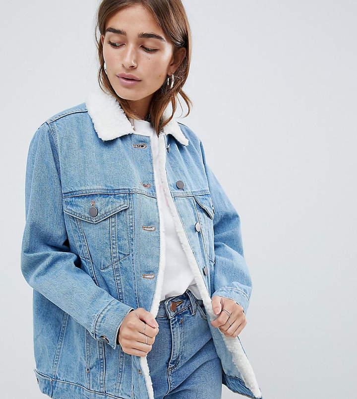 ASOS Petite ASOS DESIGN Petite denim jacket with fleece collar in midwash blue